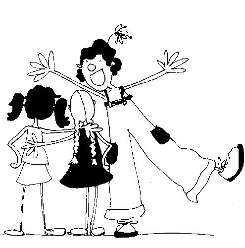 clown et fillettes